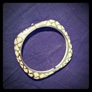 Sterling silver animal print bangle